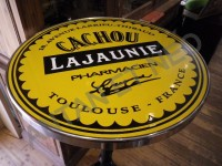 Guéridon Table Bistrot Acier Emaillé Cachou Lajaunie - Enamel TIN sign advertising EMAIL