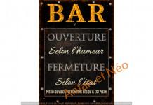 Plaque DECO BISTROT HORAIRE OUVERTURE REF SEB16043