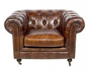 FAUTEUIL Club Chesterfield CUIR VINTAGE couleur Cigare MC83