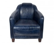 Fauteuil d appoint le Gentleman cuir vintage Bleu MC 123