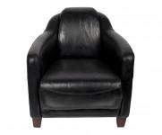 Fauteuil appoint cuir noir Le Gentleman MC115
