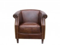 Fauteuil cuir couleur cigare Oxford MC140