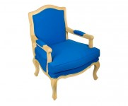 Fauteuil tissu bleu Louis XV MT2