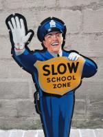 Antiquité Policeman COCA COLA des années 90 USA  School Sign Coca