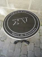 Guéridon Table Bistrot Acier Emaillé Rugby Sport de Gentlemen - Enamel TIN sign advertising EMAIL-Bis