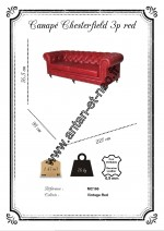 MC166 Canape 3 places Chesterfield cuir Rouge