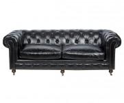 Canape Chesterfield 3 places cuir noir MC125