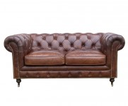 Canape 2 Places Chesterfield cuir cigare MC130