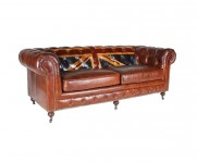 Canape 3 places Union Jack Chesterfield cuir Cigare MC82