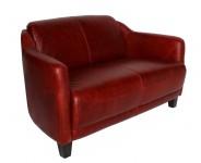 Canape 2 places cuir rouge vieilli Le Gentleman MC153