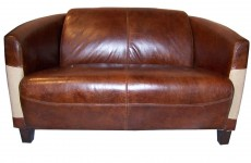 Canape 2 place cuir cigare et toile de jute l Elegant C159